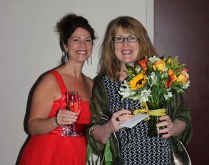 Kristen Coury and Suzanne Bradbeer at the pre-show reception for the opening night of THE GOD GAME
