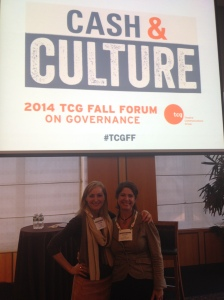 Board Member Tennille Sevigny and Kristen Coury at the TCG Fall Forum in New York City