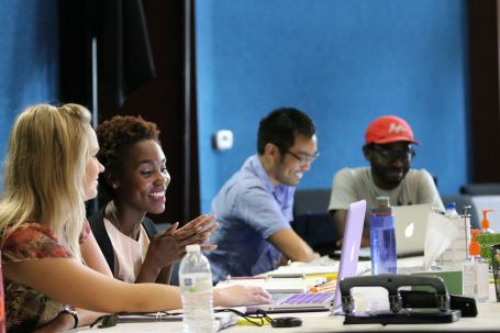 Assistant Stage Manager Emily Hauger, Joeniece Abbott-Pratt, Christopher Shin, and Playwright James Ijames (2)